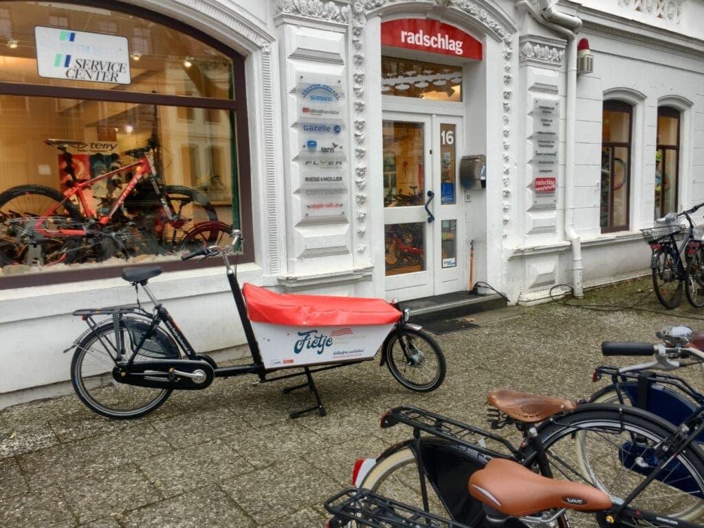 Die Ladenfront unseres Fahrradladen radschlag in Bremen